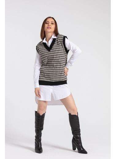 Jument Kadın Boyfriend Tunik Elbise Koton Gömlek-Beyaz Beyaz
